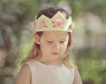 Felt Crown with Roses, Birthday Crown,  Princess Crown, Shabby Chic, Flower Girl, Velcro Closure, Photo Prop, Smash Cake