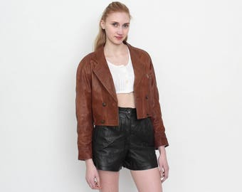 Vintage Brown Leather Cropped Jacket/ Size S