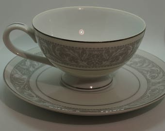 Tea Cup and Saucer, White and Gray