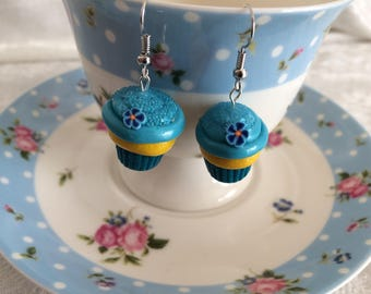 Blue Cupcake Earrings, Food Jewelry, Clay Earrings, Food Earrings, Polymer Clay Jewelry, Cupcake Jewelry, Kawaii Earrings, Flower Earrings