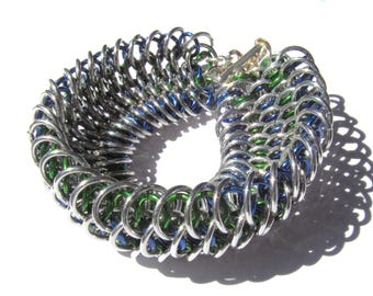 "Dragon Scale Chain-Maille Anodized Aluminum Weave Bracelet-Blue, Green, Silver 7 and 1/2"" (18.5cm) Long with Sterling Silver Slide Clasp"