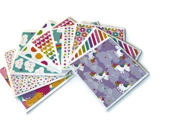 Assorted Mini Cards, Unicorns & Rainbows, Thank you Cards, Note cards, Gift Tags, Lunch Box Notes, 3x3 inch cards, Note Card Set, Set of 10