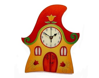 Fairy Houses Clock Elf House Clock Silent Wall Clock Yellow Wall Clock  Unique Fairy Clock Housewarming Gift New Baby Gift Girls Wall Clock