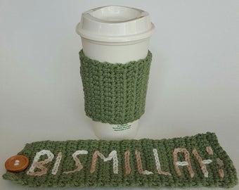 Green Crochet Eco Friendly Coffee/Tea Cup Sleeve