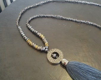Long Tassel Necklace with Pendant