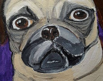 Pet portrait - doug the pug dog . acrylic painting 6x6