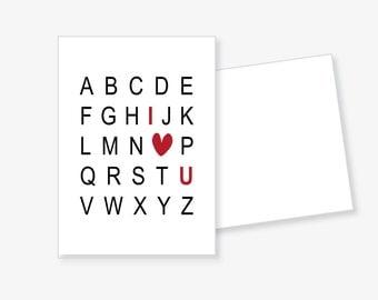 """Postcard """"I love U"""" with envelope"""