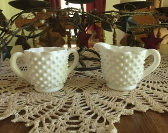 Fenton Hobnail Milk Glass Sugar Bowl and Creamer