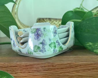 Lefton Ceramic Ladies Ashtrays with holder