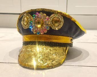 Gold & Blue Festival Hat, Glastonbury, Burning Man, EDC, Embellished Sequin Disco Cap