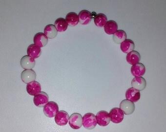 Pink Splatter Glass Bead Braclet