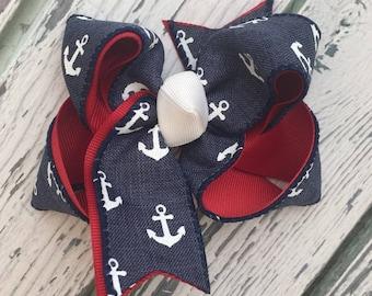Navy Nautical Anchor Hair Bow, 2 Layered Nautical Hair Bow, Anchor Bow, Summer Hair Bow, Beach Bow, Red White Blue, Patriotic Hair Bow