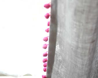 """Two Flax Linen Pom Pom curtains 52""""- 3 colors - 100% Linen curtains-Pom Pom panel-Available colors pom pom-Choose your length #Hide n'Seek#"""