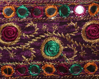 Purple embroidered indian ribbon with trim and mirrors