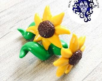 sunflower earrings, fake plug, faker plug, stretched ears, fake gauges