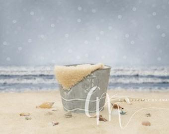 Beach pail digital backdrop