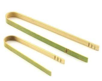"3.9"" Mini Bamboo Wood Disposable Tongs"