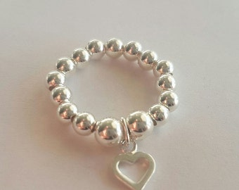 Sterling Silver Beaded Stretch Ring with Heart Charm