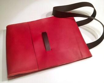 Red Leather Messenger Bag