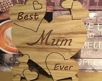 Carved Mum heart free standing