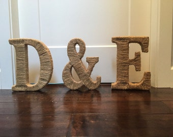 Twine wrapped 3D letters