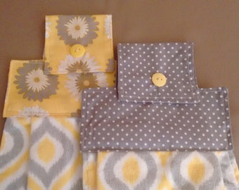 2 Yellow and Gray Hanging Dish Towels