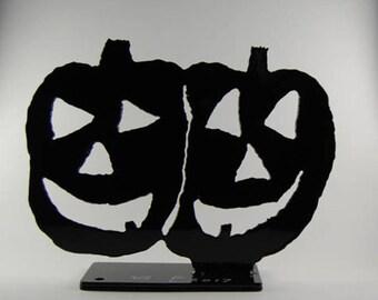 Powder Coated Steel Twin Smiling Pumpkins Sculpture