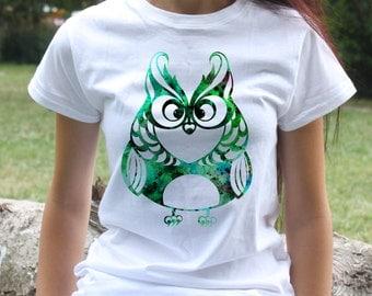 Owl Tee - Bird T-shirt - Fashion women's apparel - Colorful printed tee - Gift Idea