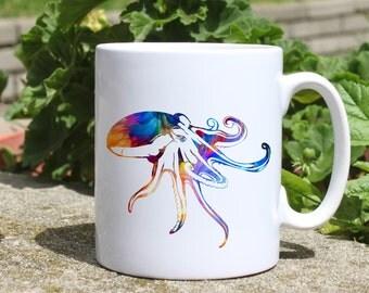 Octopus mug - Sea mug - Colorful printed mug - Tee mug - Coffee Mug - Gift Idea