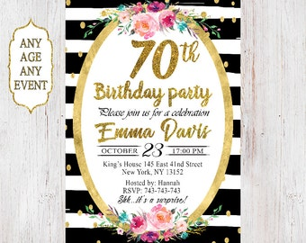 70th Birthday Invitation. Surprise Birthday Party Invitation.  Gold glliter flowers. 50th, 60th, 80th, 90th. 082