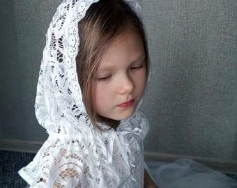 Orthodox girls veil, Shawl for prayer, Church Head covering, Little girls veils, Lace shawl for girl, Church veil, Church hood