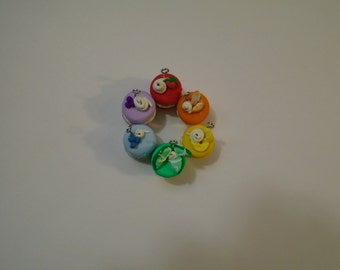 Petite Macaron Charms in Rainbow Colours topped with Fruit