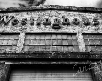 Westinghouse / industrial black and white photograph, fine art, urban wall art print, urban photo, b&w photography, industrial decor