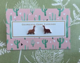Dinosaur Stud Earrings Georgiana Esme Gold, Silver, Rose Gold