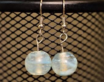 Blue Swirl Glass Bead Dangle Earrings
