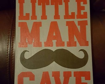 Red/Gray Little Man Cave Mustache sign