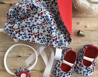 Baby bonnet, baby shoes, baby headband, booties, red, white, blue, American, Memorial Day, 4th of July, Labor Day, Patriotic