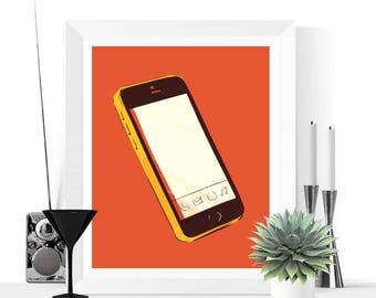 50% OFF Sale - Pop Art Smart Phone Art Printable | Orange and Yellow | Pop Art | Fun Art | Contemporary Art | Art Print | Mobile Phone
