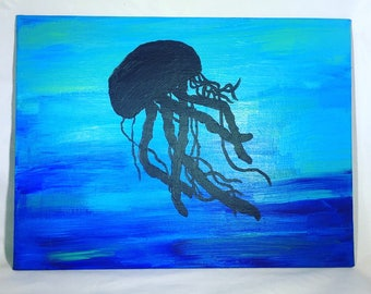 Acrylic Jellyfish Underwater - 9x12