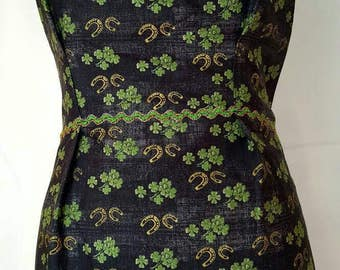 Women's pleated black horseshoe and clover apron, pleated apron, vintage inspired apron, ric rac trim apron, on sale