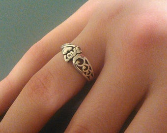 Sterling Silver Love Ring with Heart