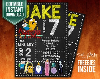 Adventure Time invitation, Adventure Time invite, Adventure Time printable, Adventure Time party, Adventure Time birthday, Instant Download