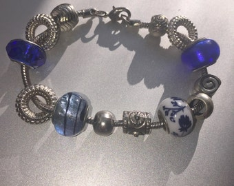 Pandora Style Charm Bracelet - Secection of Tibetan Silver/Mirano Glass/Ceramic/Plastic/Metal Charms