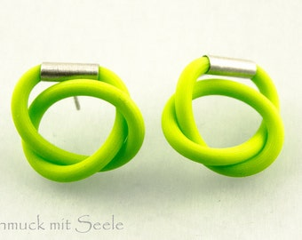 Earrings, SPORTY, NEON green, silver elements 925 earrings, Silver 925, m odern, for she, young design new