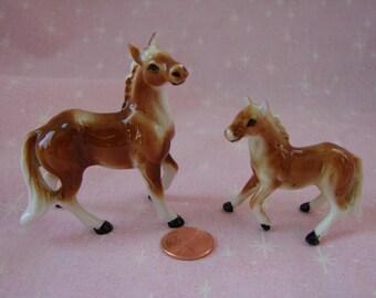 Bone China Miniature Chestnut Stallion and Mare Figurines