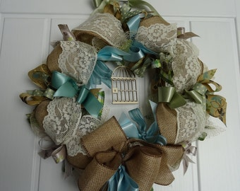 Round  Birdcage Ribbon Wreath Taupe, Blue, Turquoise, Green ,Lace.