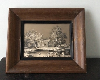 Vintage Currier & Ives Silver Foil Print / Etching / Framed / Return from Pasture / Country / Farm