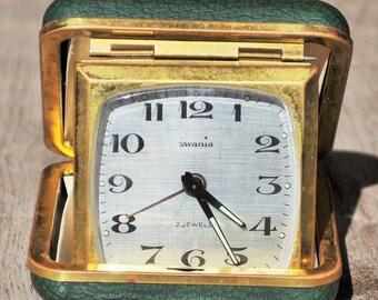 travel alarm clock Swania green leather