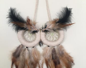 Owl Dream Catcher with crocheted-blue eyes and light brown feathers
