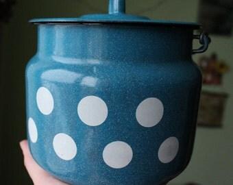 Unused Soviet watering can. Enamel milk Can. Vintage milk can. polka dot pattern. USSR 80's. polka dot